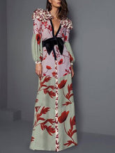 Load image into Gallery viewer, Elegant V Neck Ruffled   Floral Pattern Printed Bishop Sleeve Maxi Dress