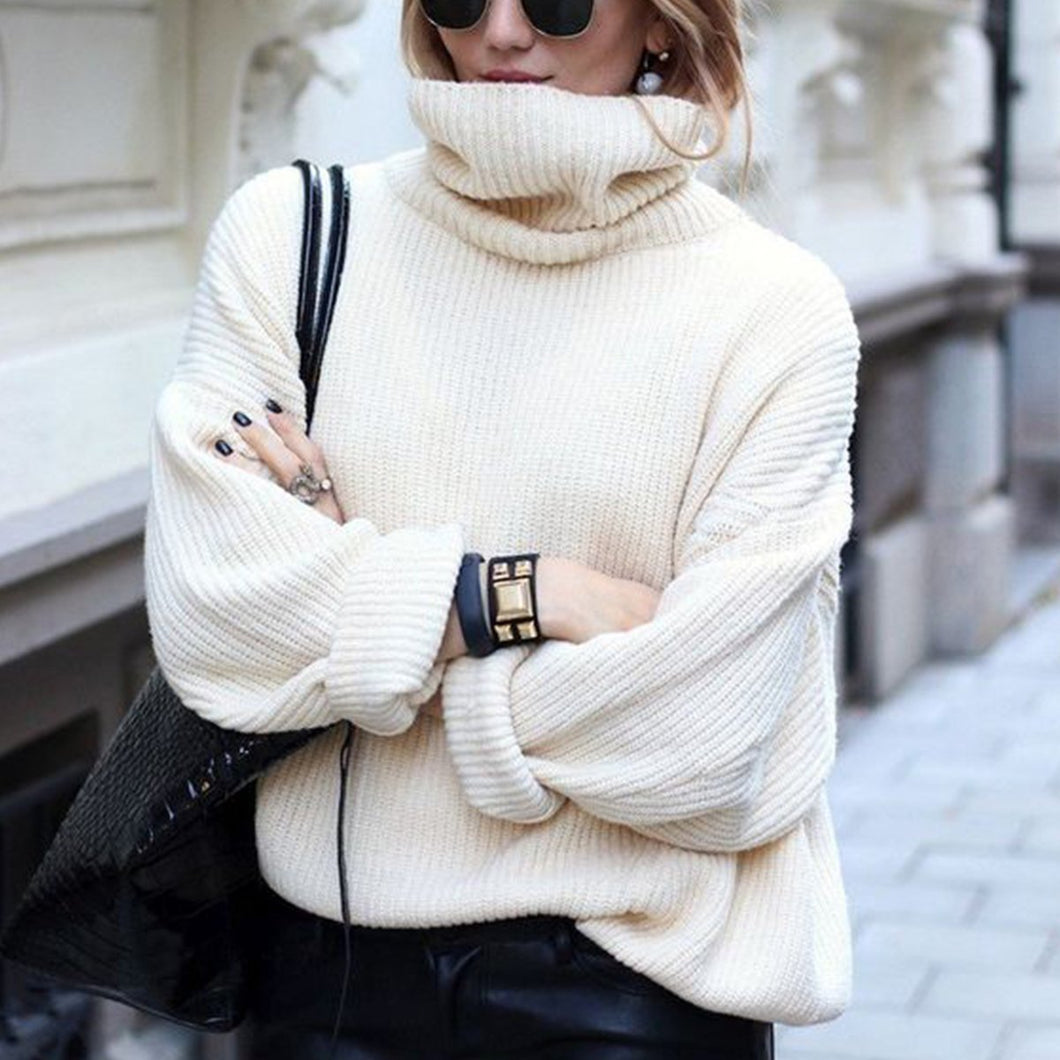 Sweet Fashion Casual Loose Solid Color Long Sleeve Sweater