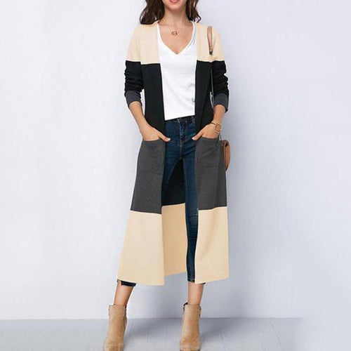 Splice A Slit Trench Coat Over A Cardigan