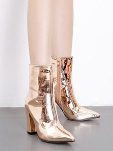 Fashion Bright Patent Leather Chunky Heel Boots