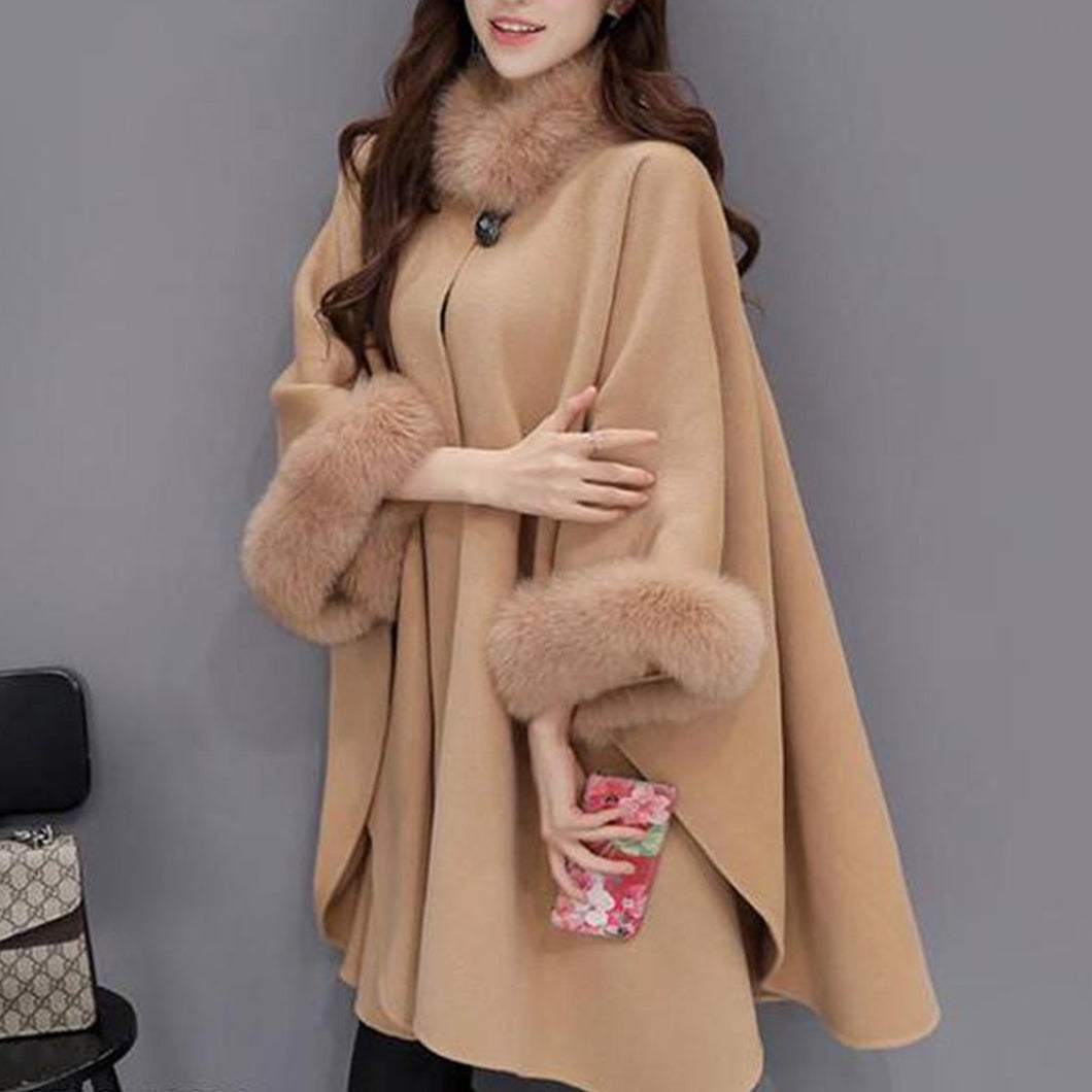 Hairy Collar Temperament Pure Color Shawl Coat