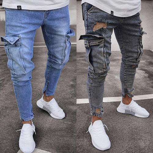 Fashion Mens Long Jean Stretch Slim Trousers