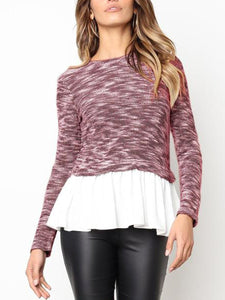 Casual Stitching Fancy Knit Sweater