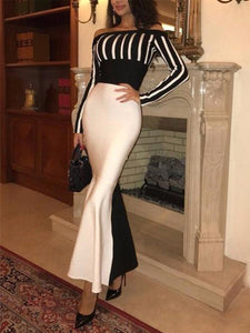 Sexy Shoulder Stripe Long-Sleeved Bodycon Dress
