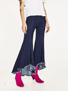High Waist Asymmetrical Trousers Women's Fringe Denim Flared Pants