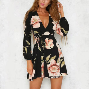 Sexy Deep V Collar Floral Printed Skater Dress