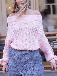 One-Neck Collar Off-The-Shoulder Solid Color Loose Pullover Sweater