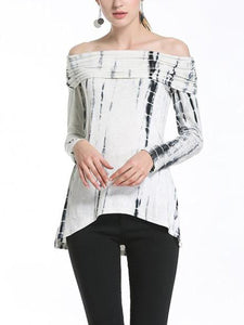 Off Shoulder Printed Long Sleeve T-Shirts