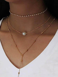 Fashion Crystal Pendant Pearl Necklace