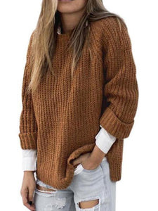 Knitwear Pullover Long Sleeve Curled Sleeve Sweater