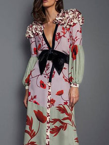 Elegant V Neck Ruffled   Floral Pattern Printed Bishop Sleeve Maxi Dress