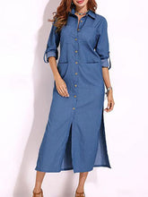 Load image into Gallery viewer, Fashion Lapel Cowboy Slit Maxi Dress