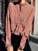 Load image into Gallery viewer, Sexy Plain Loose Button Collar Long Sleeve Blouse