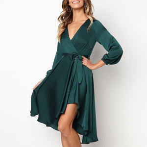 Fashion Plain Half Sleeve Mini Dress