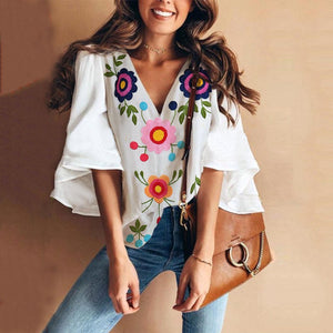 Sexy V Collar Floral Print Bell Sleeve T-Shirt Blouse