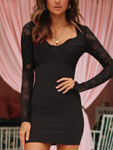 Fashion Lace Long Sleeve Bodycon Dress