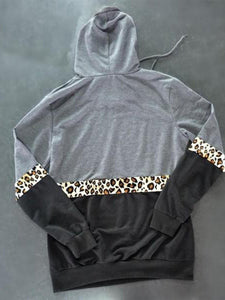 Hooded Leopard Stitching Hoodies