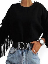 Load image into Gallery viewer, Fringed Round Neck Long Sleeve Sweatshirt