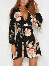 Load image into Gallery viewer, Sexy Deep V Collar Floral Printed Skater Dress