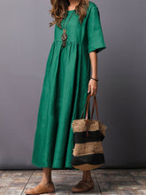 Load image into Gallery viewer, Round Neck  Plain  Cotton/Linen Maxi Dress