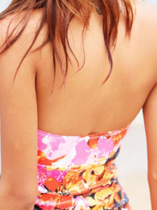 Halter  Bowknot Contrast Trim  Printed One Piece