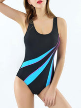 Load image into Gallery viewer, Support Patchwork Cut Out Back High Waisted Stretchy One Piece Swimwear