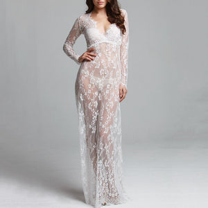Floor-Length Black White Lace Adjust Waist Sexy See Through Hollow Out Plus Size Evening Dress