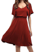 Load image into Gallery viewer, V-Neck Elastic Waist Plain Batwing Sleeve Skater Dress