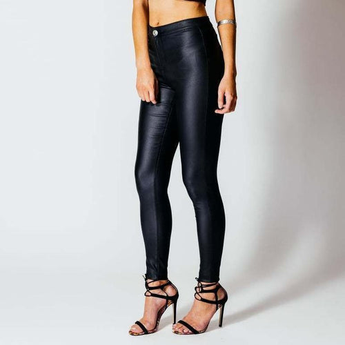 Sexy High Waist Pure Color Leather Pants