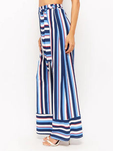 Colorful Striped Wide-Leg Pants