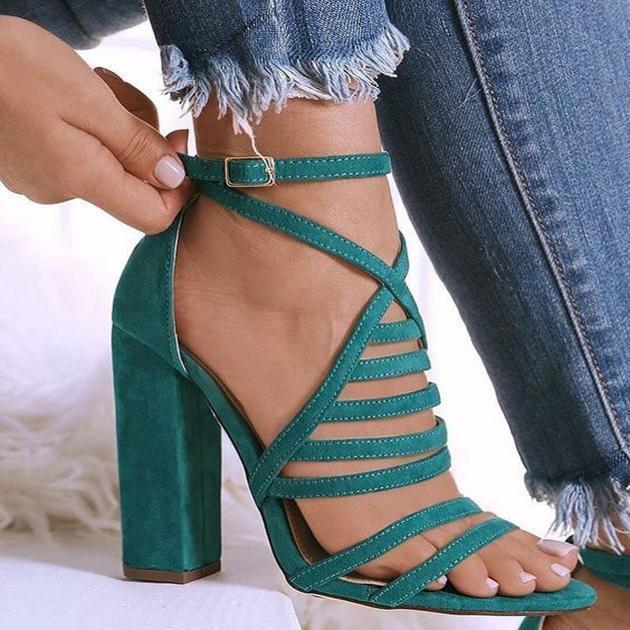 Sexy Multi-Striped High-Heeled Sandals