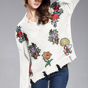 V-Neck Torn Flower Embroidery Sweater