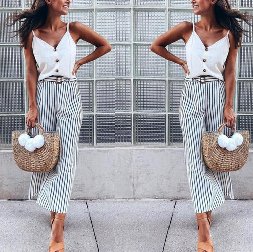 Fashion Stripe Loose Waistband Pants
