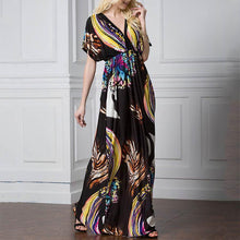 Load image into Gallery viewer, V Collar Printing Ice Silk Fabric Beach Vacation Dress