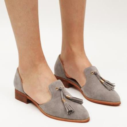 Fashion Plain Fringe Suede Upper Flat-Loafer
