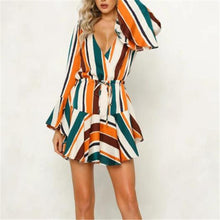 Load image into Gallery viewer, Sexy Strip Deep V Neck Falbala Long Sleeve Skater Dress