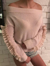 Load image into Gallery viewer, Sexy Off-Shoulder Stitching Ruffled Long Sleeve Casual Sweater