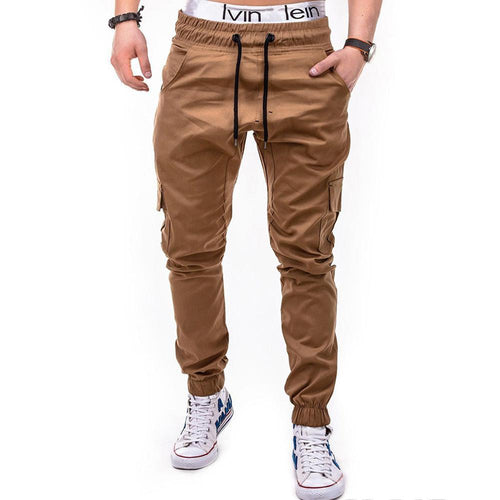 Side Pockets Tether Belt Casual Jogger Pants