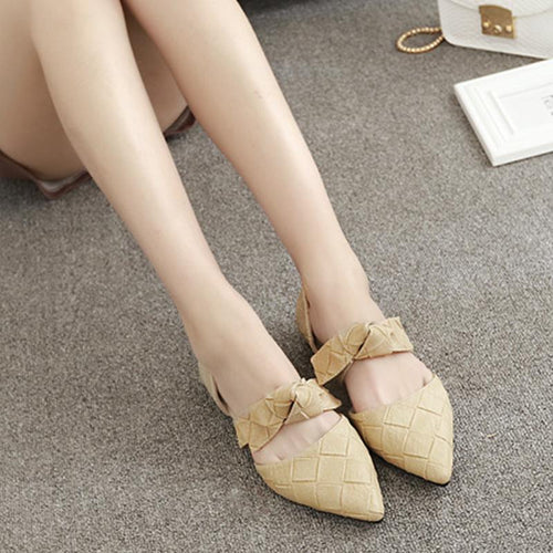 Fashion Bow Buckle Flats