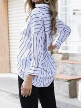 Load image into Gallery viewer, V Neck  Loose Fitting  Striped  Blouses