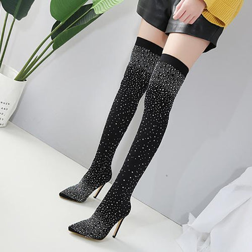 High Heels Luxury Rhinestone Stiletto Pointed Over-The-Knee High Heel Boots
