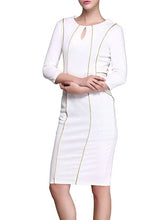 Load image into Gallery viewer, Round Collar Zipper Long Sleeve Package Hip Bodycon Dress
