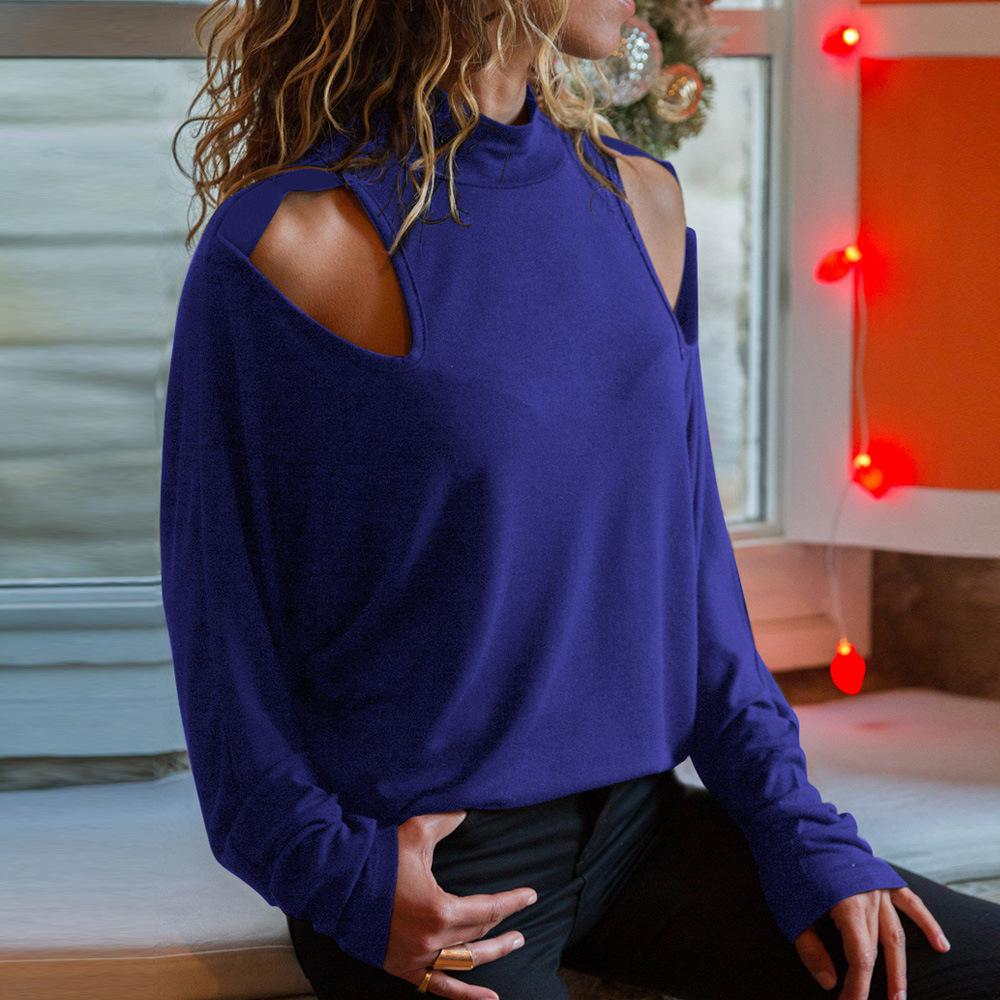 Sexy Round Collar Off Shoulder Plain T-Shirts