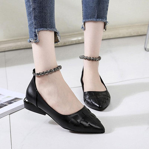 Shallow Mouth Flat Metal Chain Women's Shoes