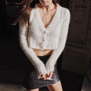 Mohair Knitted Button-Down Cardigan Sweater