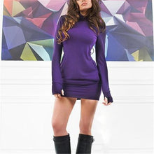 Load image into Gallery viewer, Elegant Fashion Slim Plain High Collar Long Sleeve Sweater Bodycon Dress