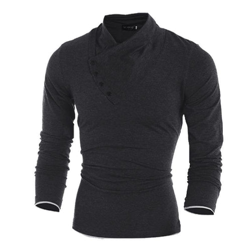Men's Diagonal Button Collar Slim Long Sleeve Top