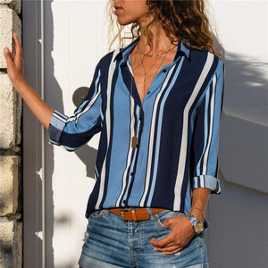 Casual Striped Long-Sleeved V-Collar Chiffon Shirt