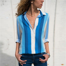 Load image into Gallery viewer, Casual Striped Long-Sleeved V-Collar Chiffon Shirt