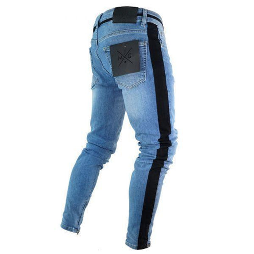 Slim Fit Stripe Ripped Distressed Skinny Zipper Stretch Jeans